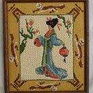 Vintage Needlepoint and Needlework Japanese Geisha Lanterns Framed Asian Moderne