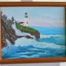 Original Oil Painting Portland Maine Lighthouse Ducky New England Marine Ocean