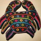 Mola Folk Art Handmade Patchwork Vintage Needlework Kuna Crab Pillow Panama