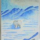 Vintage Painting Polar Bear Naive Folk Art Outsider Icy Landscape Winter Naga