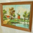 Dutch Landscape Original Vintage Oil Painting Windmill Farm Pond Spring Henley
