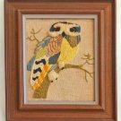 Vintage Modernist Needlework Huge Owl Branch 3D Textured Crewel Ornithology