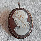 Vintage Sterling 900 Silver Carved Cameo Brooch Lavalier Pendant Combination