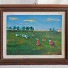 Outsider Art Folk Vintage Painting Landscape Tomato Farm Harvest Nayrocker Frame