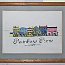 Vintage Southern Needlepoint Rainbow Row Charlston SC Framed Architectural Decor