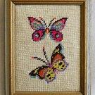 Vintage Needlepoint Butterflies Italian Tole Painted Wood Frame Regency Gilded