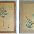 Pair 2 Antique Uchida Wood Block Prints Signed Flowers Jar Hanging Basket Japan