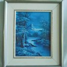 Vintage Landscape Signed Painting Icy Blue Winter Snow Western Ice River Night