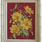 Vintage Needlepoint Yellow Flowers Floral Botanical Cream Faux Bamboo Wood Frame