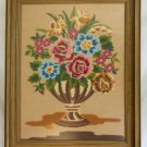 Vintage Needlepoint Flowers Still Life Greek Classical Flower Urn Framed Regency