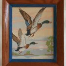 Vintage Modernist Painting by Numbers Ducks Flying Ornithology Hunting Framed