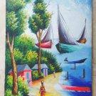 Vintage Original Oil Painting Haitian H St Charles Fisherman Beach Boat Village
