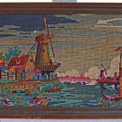 Antique Needlepoint Holland Dutch Landscape Windmills Canal 1940s Framed Marine