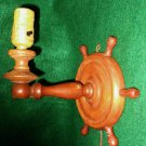 Lamp Antique Vintage Wood Rustic Cabin Wall Sconce Early American Ship Wheel