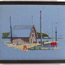 Vintage Needlework Marine Seascape Seaside Bait Shop Dock Boat Ornithology Bird