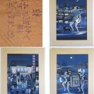 Japanese Vintage Original Painting Watercolor Gouache Nightlife 3 Scenes Signed
