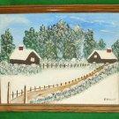 Vintage Naive Folky Rural American Snow Winter Scene P Honnet Oil Landscape