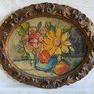 Vintage Oil Painting Still Life Flower Impasto Regency Gilded Carved  Frame Oval