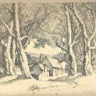 Marco ZIM Russia Original Pen Ink Drawing Jewish Artist WPA Era Maple Trees 30s