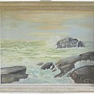 California Vintage 1960 Western Painting  Rocky Coast Seascape Plein Air EVE