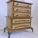 Vintage Italian Tole Music Box Miniature Tall Chest Jewelry Wood Gilt Cast Legs