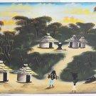 African Painting Vintage Original Village Round Hut Thatched  E.P Mbuya Folk Art