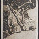 Marco ZIM Russia Russian Artist Etching 1930s Maple Gulch Trees Houses WPA Era