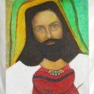 Vintage Jesus Original Oil Outsider Art Folk Painting Alicia C Russian Orthodox