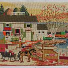 American Flag Vintage Needlepoint Colonial House  Country Scene Horse Carriage