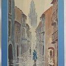 Correa Vintage Painting Watercolor Street Scene Rain Day Moody Impressionist