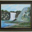 Vintage Folk Art Naive Landscape Painting Waterfall Rocky Park Floret Original