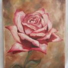 Original Vintage Oil Painting Bedell Close Portrait Single Lush Huge Pink Rose