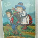 Needlepoint Vintage Antique Illustration Heidi Fairy Tale Swiss Children Flowers