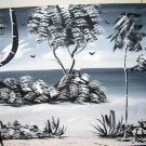 Vtg Modern Tropical Oil Painting J.Thorp Moody Gray Beach Mono Chromatic