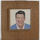 Ronald Reagan Vintage Southern Outsider Folk Art Tile Painting Dicker Political