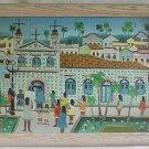 Vintage Original Naive Painting D Bezerra Church Communion Girls Architectural