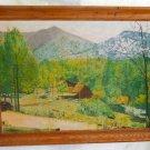 Vintage Original Painting Blanche Broussard Mountain Cabin Landscape Western