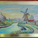 Vintage Painting Olive Kraats Windmill Landscape Spring River Flowers Mid Cen 69
