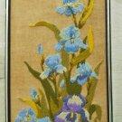 Needlepoint Irises Framed Vintage Panel Wool Three Dimensional Flowers Blue