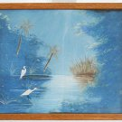 Vintage Original Painting Florida Everglades Swamps Ornithology Egrets Wading