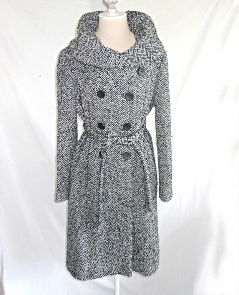 Vintage Calvin Klein Belted Coat Robe Swagger Tweed Oversize Collar 6 Deadstock