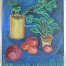 Vintage Modernist Original Painting Vegetable Pot Garden Still Life Tomato Tam