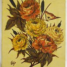 Vintage Painting Still Life Botanical Roses Flowers Butterfly Southern Eljo