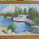 Vintage Oil Painting Fishing Boat Cove South Florida Keys Marine Summerfeldt 81