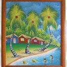 Signed Haitian Painting Beach Shacks Twisted Palm Trees Tropical Tiki