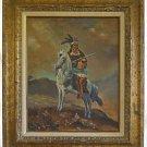 Folk Art Vintage Painting of American Indian Native on Horse Rifle Bobby Asbury