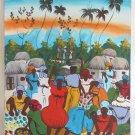 Vintage Haitian Painting TONY Village Life Landscape Tropical Fruit Market Huts