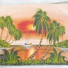 Vintage Haitian Painting Marine Landscape Schooner E Wisrd Red Sun Over Ocean
