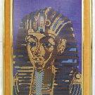 Vintage Needlepoint Ramses Egyptian Pharaoh Regency Hollywood Framed Male Head