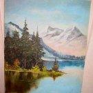 Vintage Alps Lake Mountains Original Landscape Oil Painting Campbell Alpine